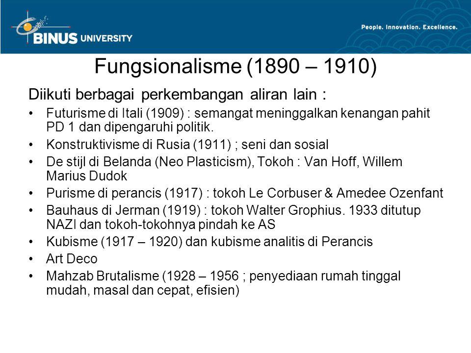 Fungsionalisme (1890 – 1910) Diikuti berbagai perkembangan aliran lain : Futurisme di Itali (1909) : semangat meninggalkan kenangan pahit PD 1 dan dip