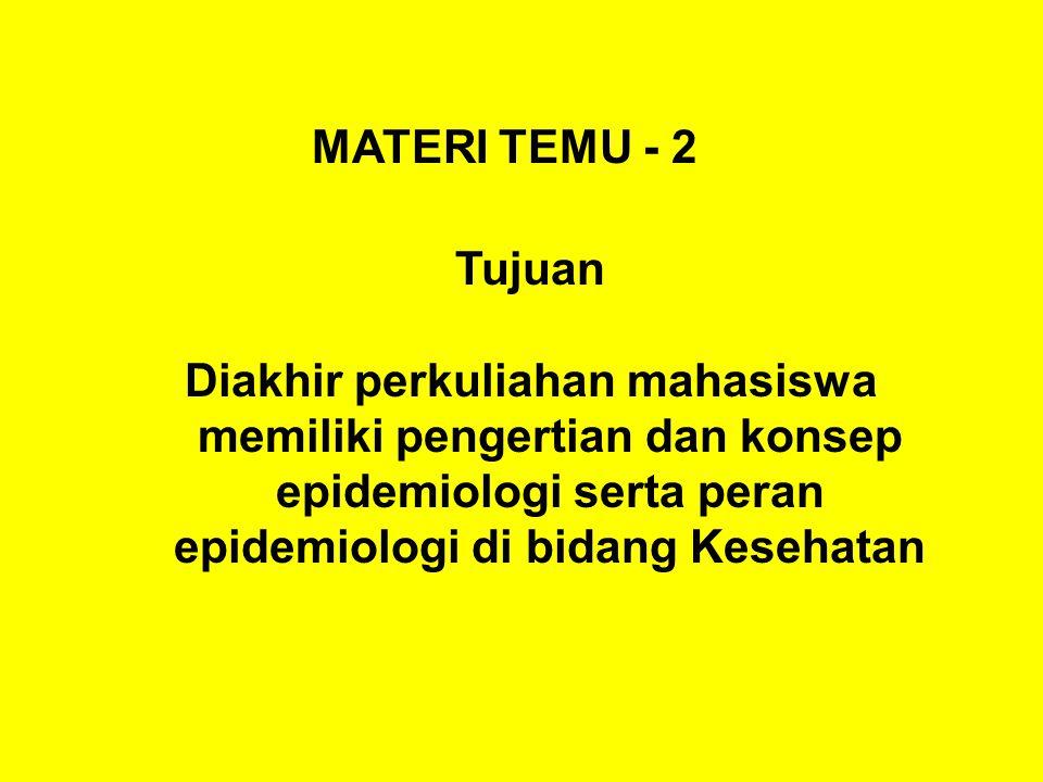MATERI TEMU - 2 Tujuan Diakhir perkuliahan mahasiswa memiliki pengertian dan konsep epidemiologi serta peran epidemiologi di bidang Kesehatan