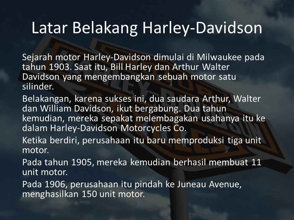 Latar Belakang Harley-Davidson Sejarah motor Harley-Davidson dimulai di Milwaukee pada tahun 1903. Saat itu, Bill Harley dan Arthur Walter Davidson ya