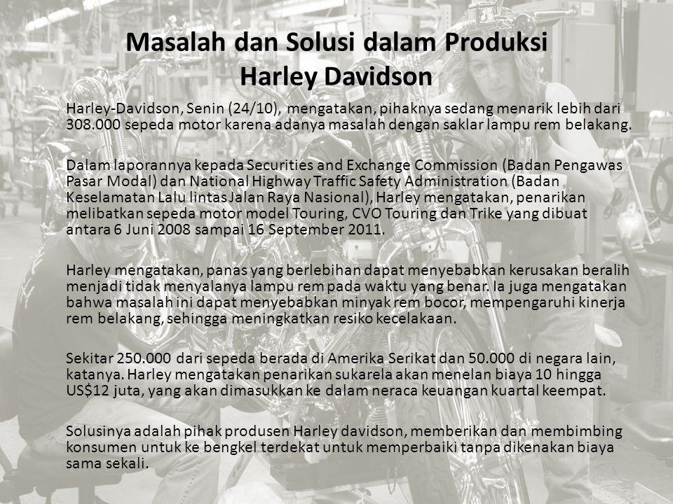 Masalah dan Solusi dalam Produksi Harley Davidson Harley-Davidson, Senin (24/10), mengatakan, pihaknya sedang menarik lebih dari 308.000 sepeda motor