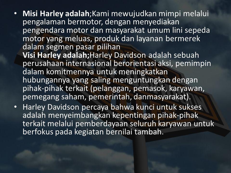 Misi Harley adalah;Kami mewujudkan mimpi melalui pengalaman bermotor, dengan menyediakan pengendara motor dan masyarakat umum lini sepeda motor yang m