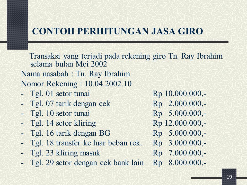 CONTOH PERHITUNGAN JASA GIRO Transaksi yang terjadi pada rekening giro Tn. Ray Ibrahim selama bulan Mei 2002 Nama nasabah : Tn. Ray Ibrahim Nomor Reke