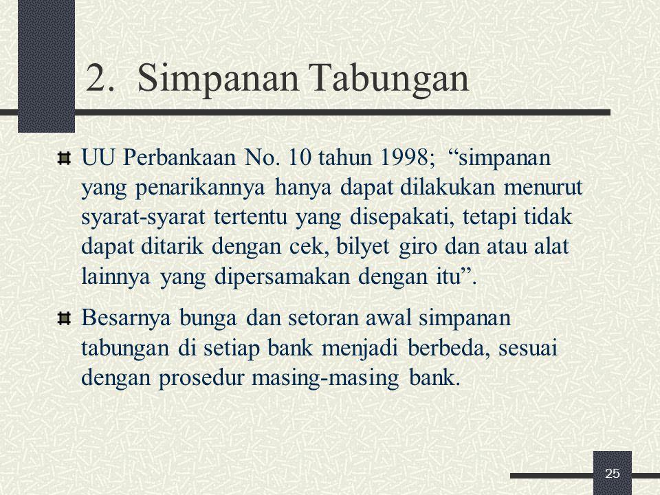 "2. Simpanan Tabungan UU Perbankaan No. 10 tahun 1998; ""simpanan yang penarikannya hanya dapat dilakukan menurut syarat-syarat tertentu yang disepakati"
