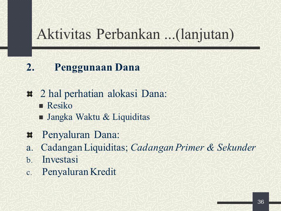 Aktivitas Perbankan...(lanjutan) 2. Penggunaan Dana 2 hal perhatian alokasi Dana: Resiko Jangka Waktu & Liquiditas Penyaluran Dana: a. Cadangan Liquid