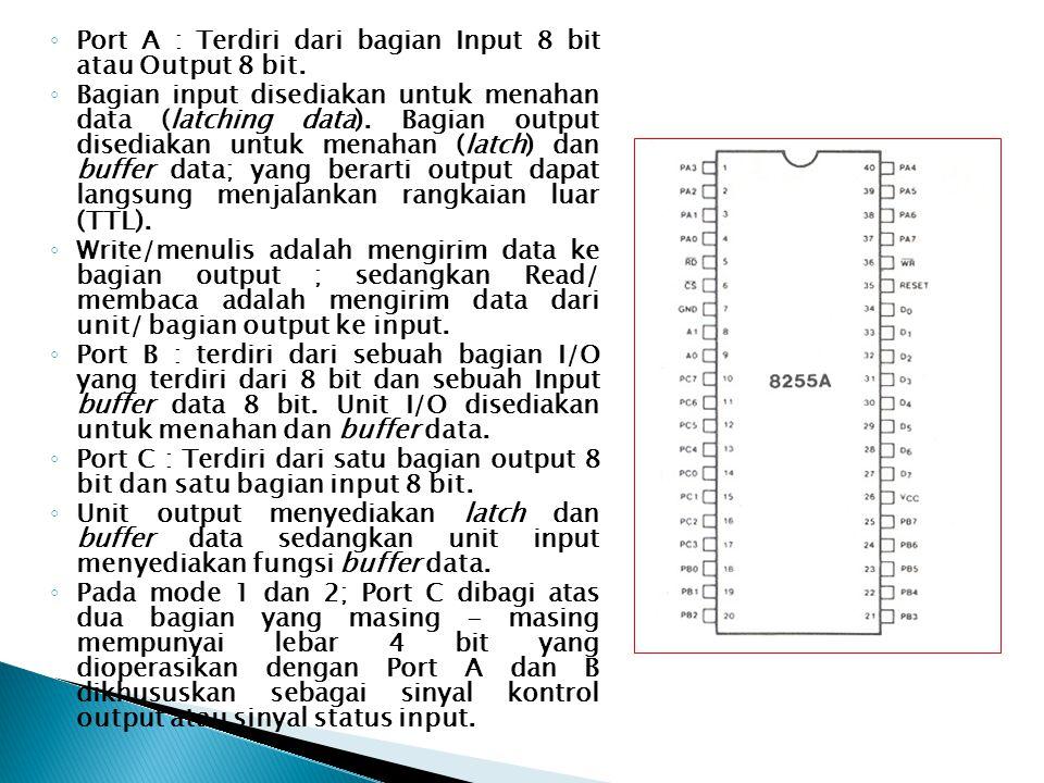 ◦ Port A : Terdiri dari bagian Input 8 bit atau Output 8 bit. ◦ Bagian input disediakan untuk menahan data (latching data). Bagian output disediakan u