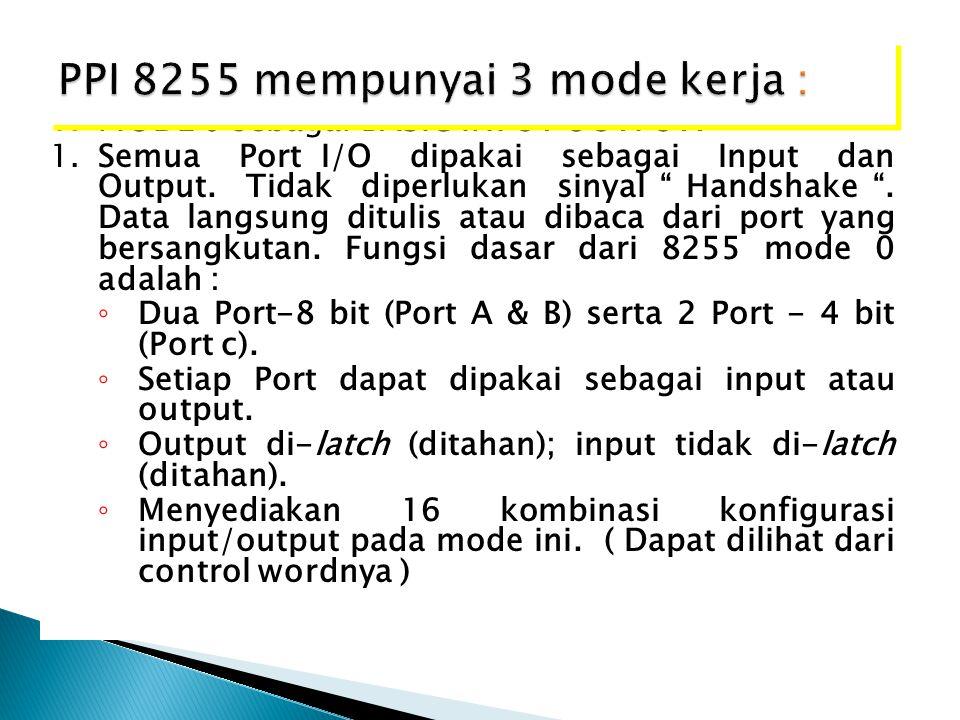 "1.MODE 0 sebagai BASIC INPUT OUTPUT. 1.Semua Port I/O dipakai sebagai Input dan Output. Tidak diperlukan sinyal "" Handshake "". Data langsung ditulis a"
