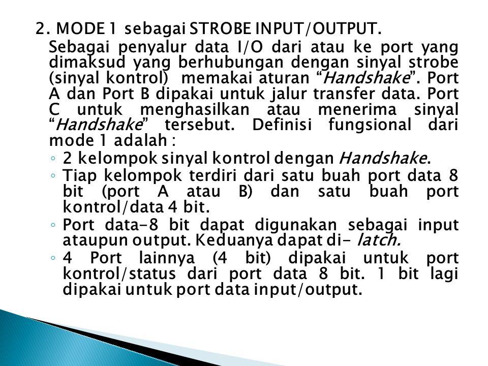 2. MODE 1 sebagai STROBE INPUT/OUTPUT. Sebagai penyalur data I/O dari atau ke port yang dimaksud yang berhubungan dengan sinyal strobe (sinyal kontrol