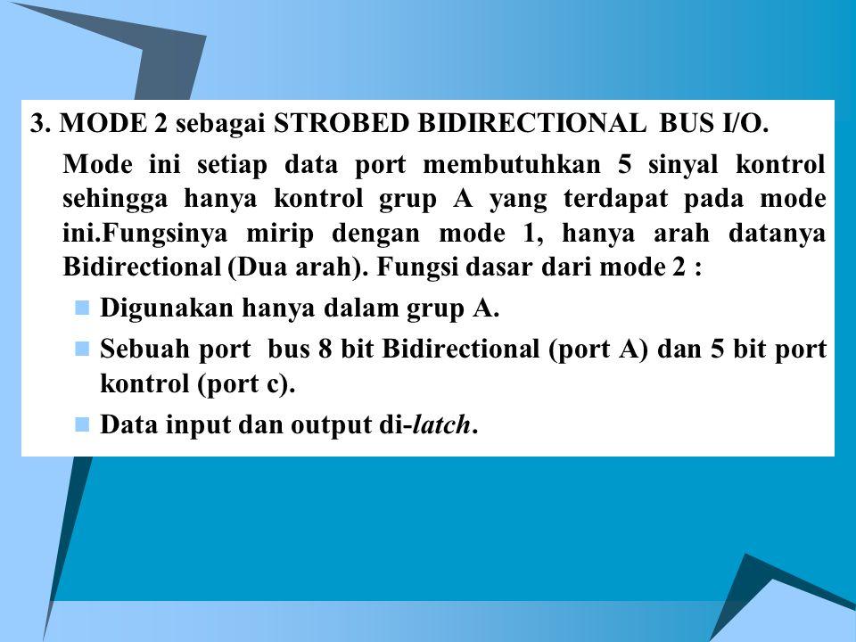 3. MODE 2 sebagai STROBED BIDIRECTIONAL BUS I/O. Mode ini setiap data port membutuhkan 5 sinyal kontrol sehingga hanya kontrol grup A yang terdapat pa