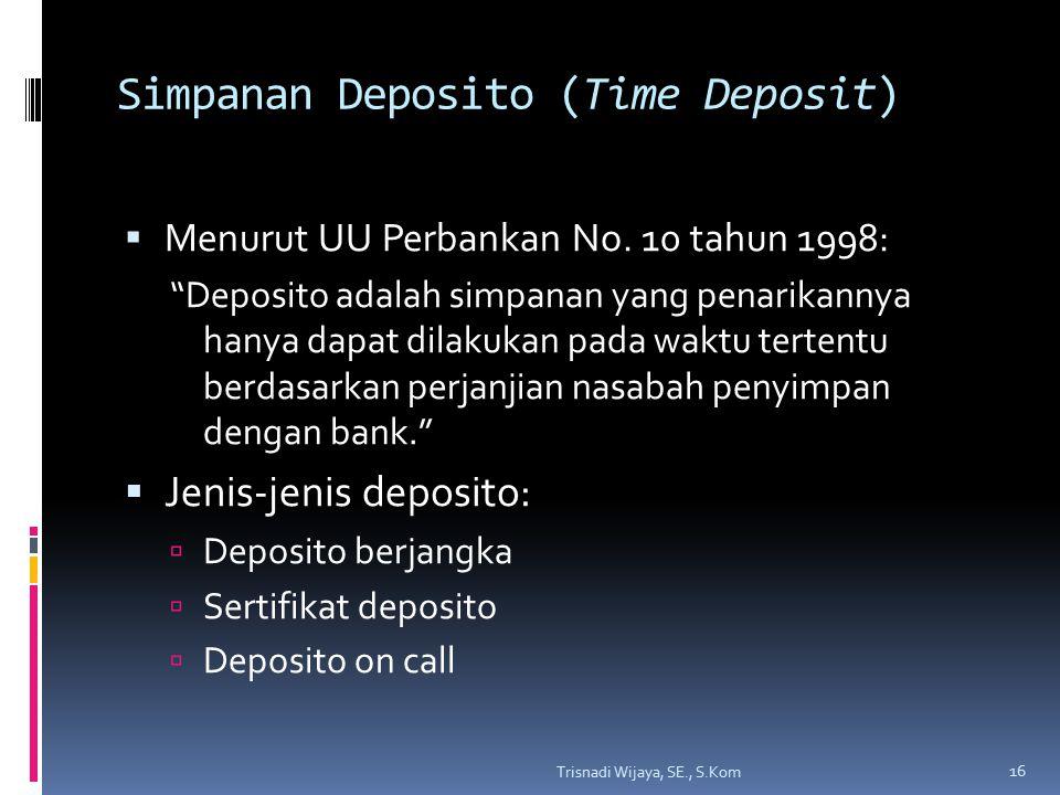Simpanan Deposito (Time Deposit)  Menurut UU Perbankan No.