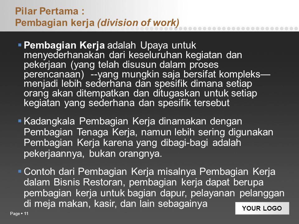 YOUR LOGO Pilar Pertama : Pembagian kerja (division of work)  Pembagian Kerja adalah Upaya untuk menyederhanakan dari keseluruhan kegiatan dan pekerj