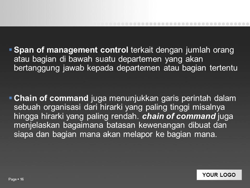YOUR LOGO  Span of management control terkait dengan jumlah orang atau bagian di bawah suatu departemen yang akan bertanggung jawab kepada departemen