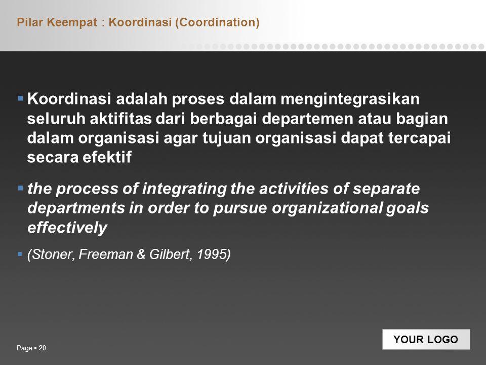 YOUR LOGO Pilar Keempat : Koordinasi (Coordination)  Koordinasi adalah proses dalam mengintegrasikan seluruh aktifitas dari berbagai departemen atau