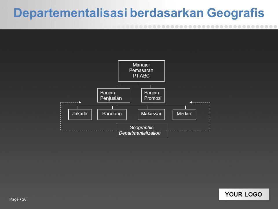 YOUR LOGO Departementalisasi berdasarkan Geografis Page  26 Manajer Pemasaran PT ABC Bagian Penjualan Bagian Promosi JakartaBandungMakassarMedan Geog