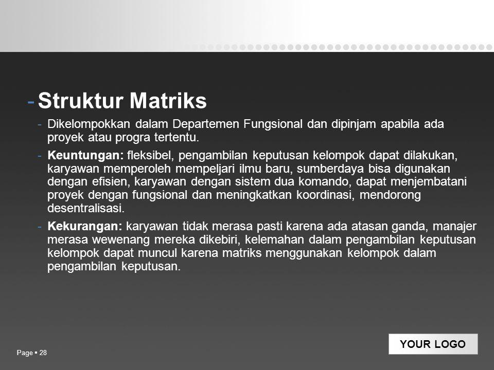 YOUR LOGO -Struktur Matriks -Dikelompokkan dalam Departemen Fungsional dan dipinjam apabila ada proyek atau progra tertentu. -Keuntungan: fleksibel, p