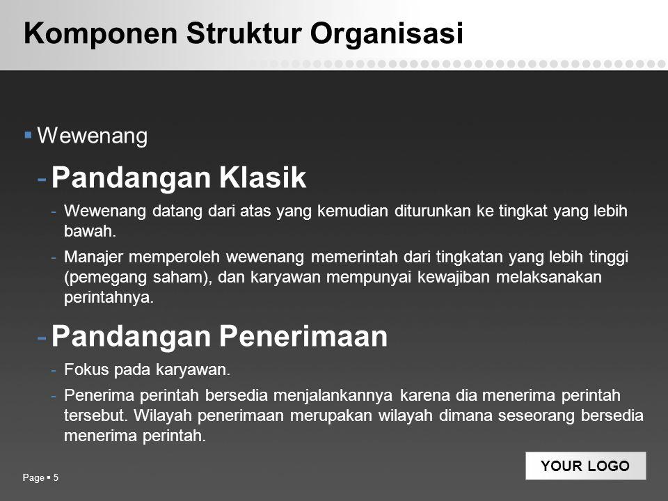 YOUR LOGO Departementalisasi berdasarkan Geografis Page  26 Manajer Pemasaran PT ABC Bagian Penjualan Bagian Promosi JakartaBandungMakassarMedan Geographic Departmentalization