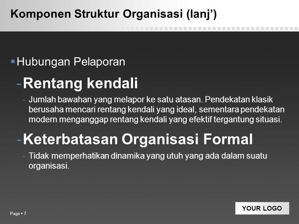 YOUR LOGO Komponen Struktur Organisasi (lanj')  Hubungan Pelaporan -Rentang kendali -Jumlah bawahan yang melapor ke satu atasan. Pendekatan klasik be