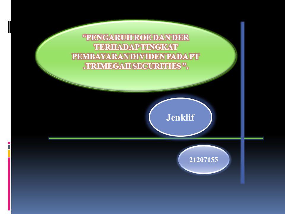 Pengujian Hipotesis Simultan (Uji F) Parsial (Uji T) F hitung > F tabel 0,381 >0,05 ROE dan DER trhdp DPR Tidak Signifikan t hitung > t tabel ROE secara Parsial terhadap DPR 0,310>0,05 Tidak berpengaruh signifikan t hitung > t tabel DER secara Parsial terhadap DPR 0,517>0,05
