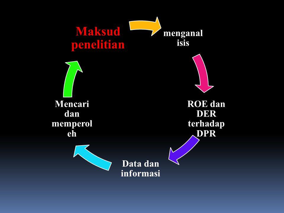 menganal isis ROE dan DER terhadap DPR Data dan informasi Mencari dan memperol eh Maksud penelitian
