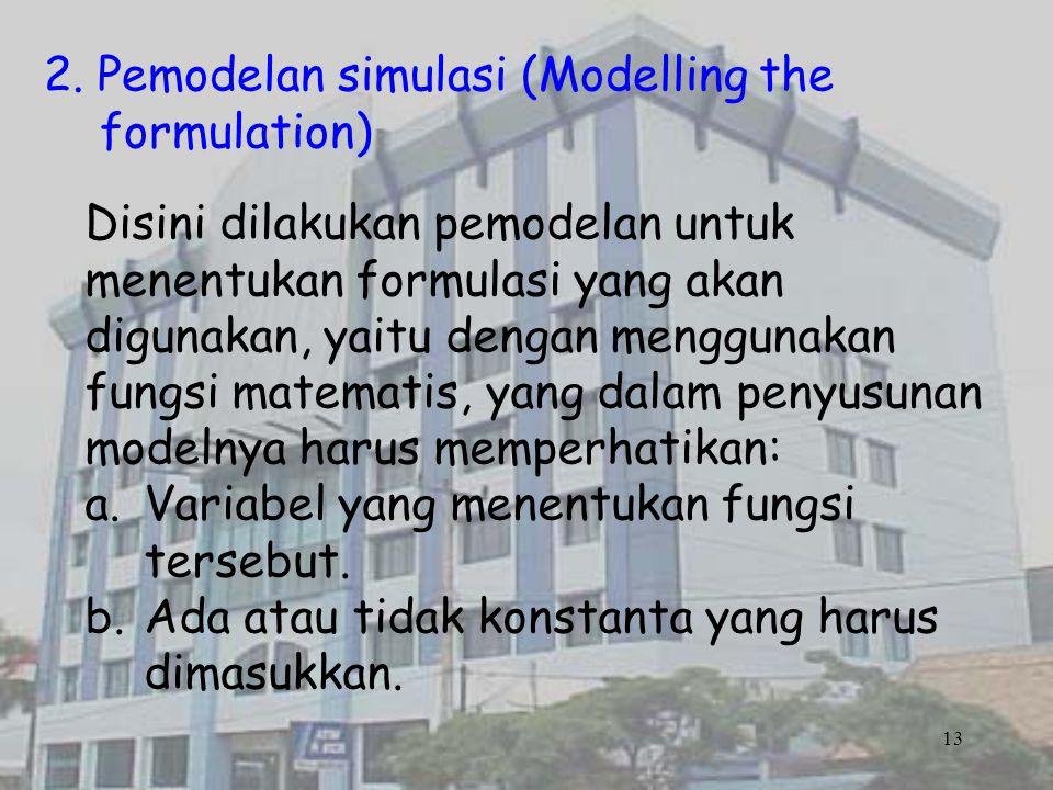 2. Pemodelan simulasi (Modelling the formulation) Disini dilakukan pemodelan untuk menentukan formulasi yang akan digunakan, yaitu dengan menggunakan