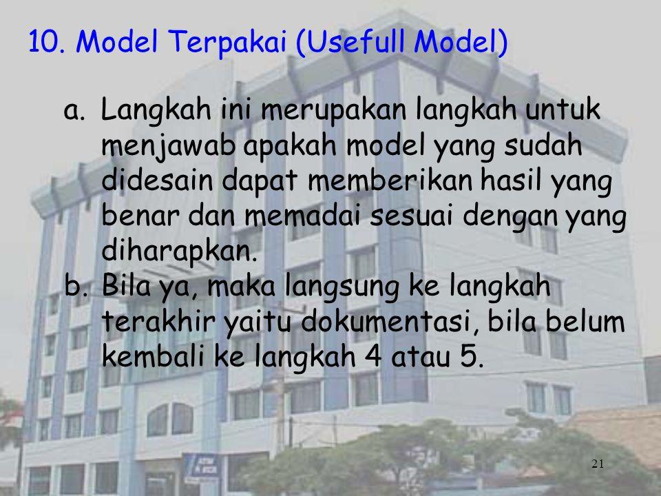21 10. Model Terpakai (Usefull Model) a.Langkah ini merupakan langkah untuk menjawab apakah model yang sudah didesain dapat memberikan hasil yang bena