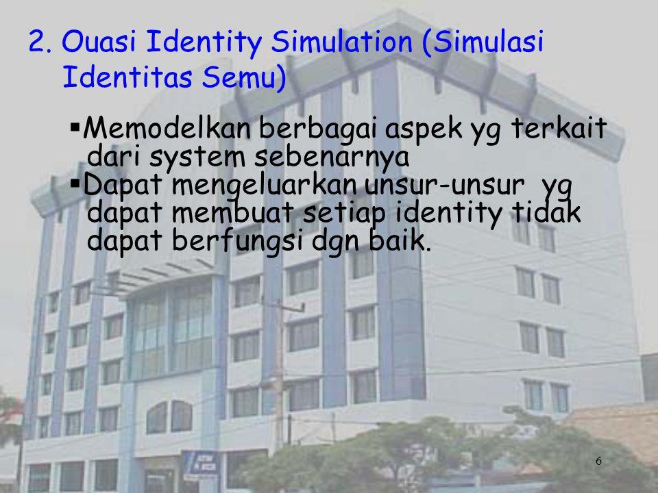 2. Ouasi Identity Simulation (Simulasi Identitas Semu)  Memodelkan berbagai aspek yg terkait dari system sebenarnya  Dapat mengeluarkan unsur-unsur
