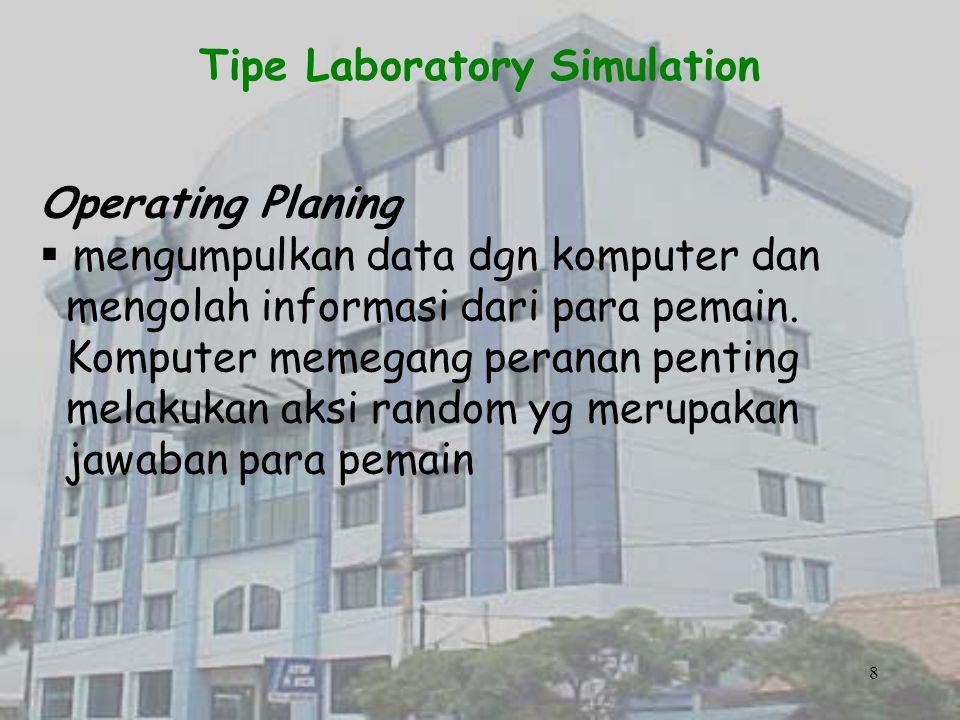 Tipe Laboratory Simulation Man Machine Simulation  Memberikan sudut pandang lain dalam menyelidiki berbagai konsep teknis dgn tujuan2 tertentu.