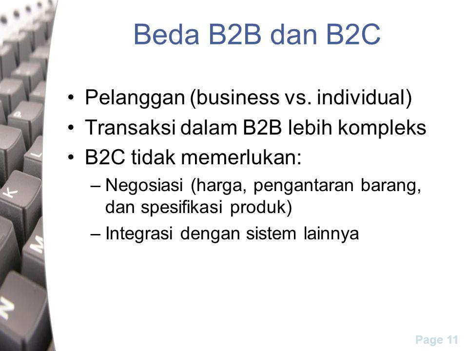 Page 11 Beda B2B dan B2C Pelanggan (business vs. individual) Transaksi dalam B2B lebih kompleks B2C tidak memerlukan: –Negosiasi (harga, pengantaran b