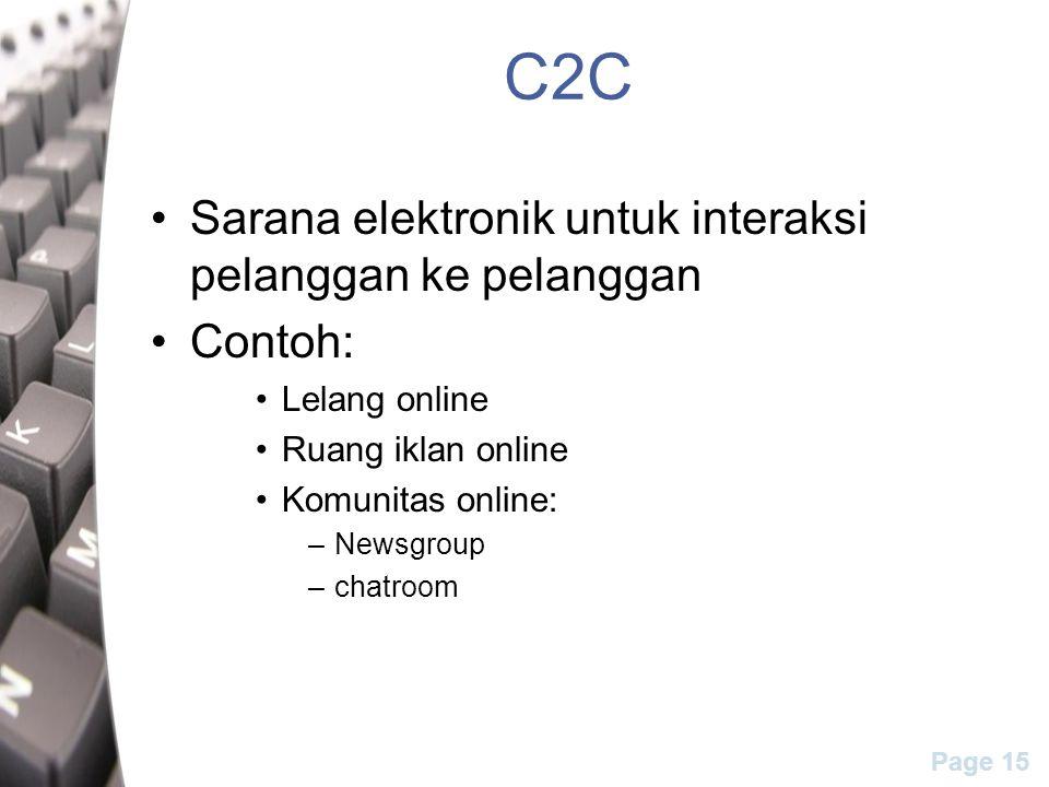 Page 15 C2C Sarana elektronik untuk interaksi pelanggan ke pelanggan Contoh: Lelang online Ruang iklan online Komunitas online: –Newsgroup –chatroom