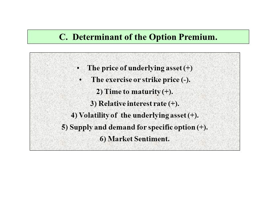 C. Determinant of the Option Premium.