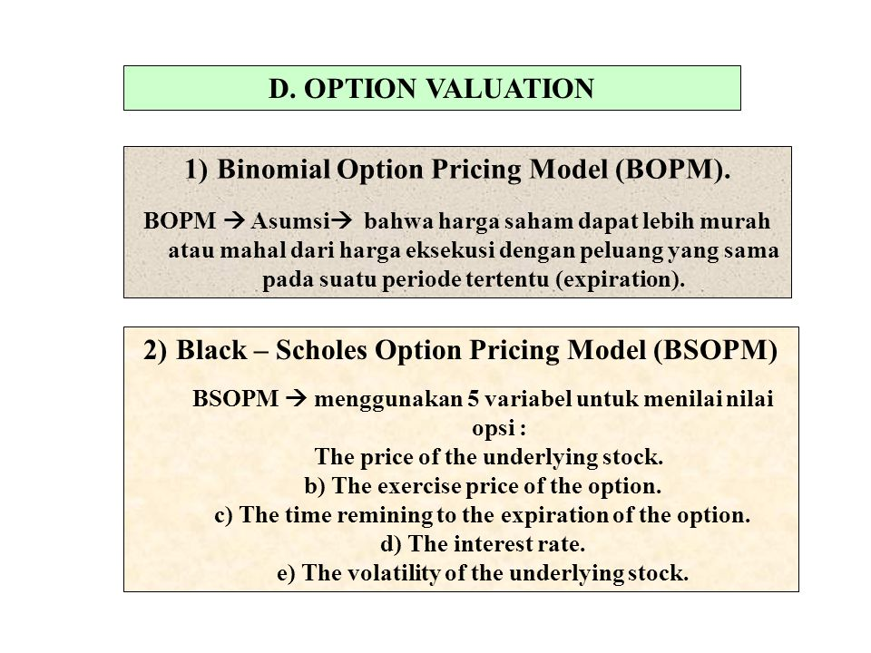 D. OPTION VALUATION 1)Binomial Option Pricing Model (BOPM).