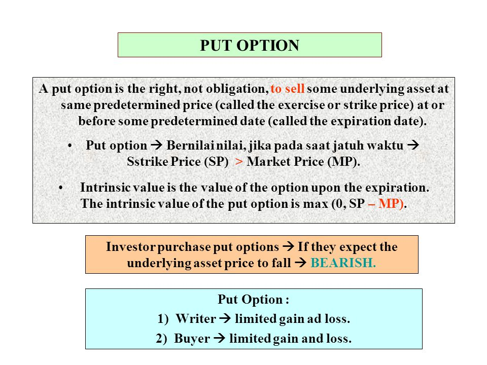 Put Option : In the money  The market price (MP) < The strike price (SP), and will expire exercised.