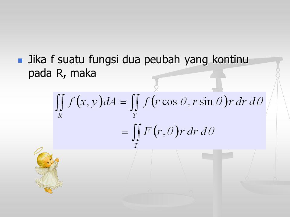 Jika f suatu fungsi dua peubah yang kontinu pada R, maka Jika f suatu fungsi dua peubah yang kontinu pada R, maka