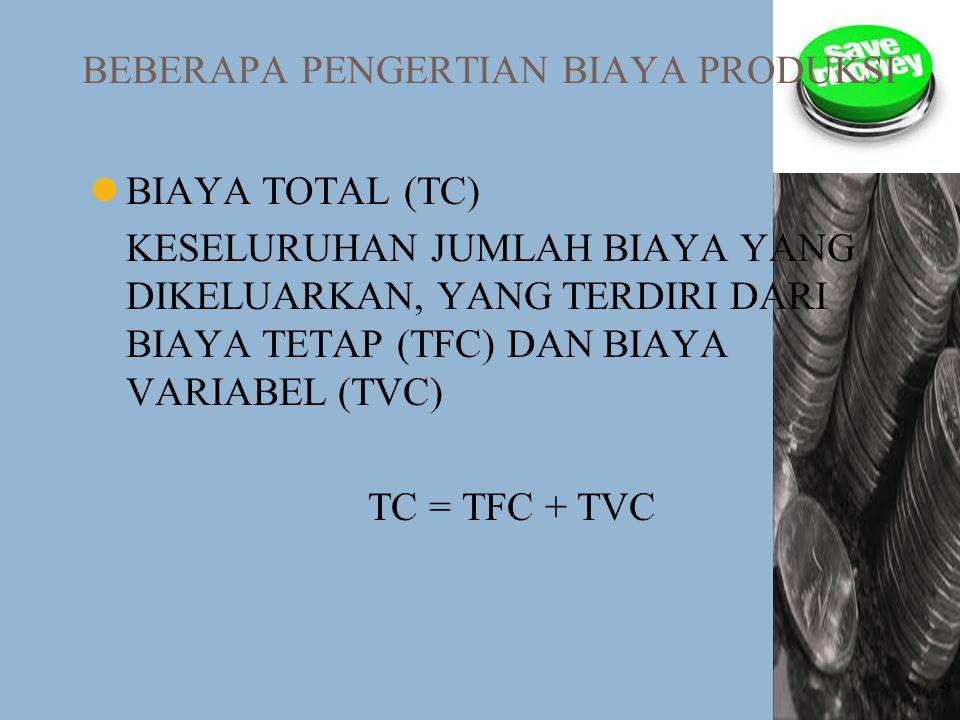 9 BEBERAPA PENGERTIAN BIAYA PRODUKSI BIAYA TOTAL (TC) KESELURUHAN JUMLAH BIAYA YANG DIKELUARKAN, YANG TERDIRI DARI BIAYA TETAP (TFC) DAN BIAYA VARIABE