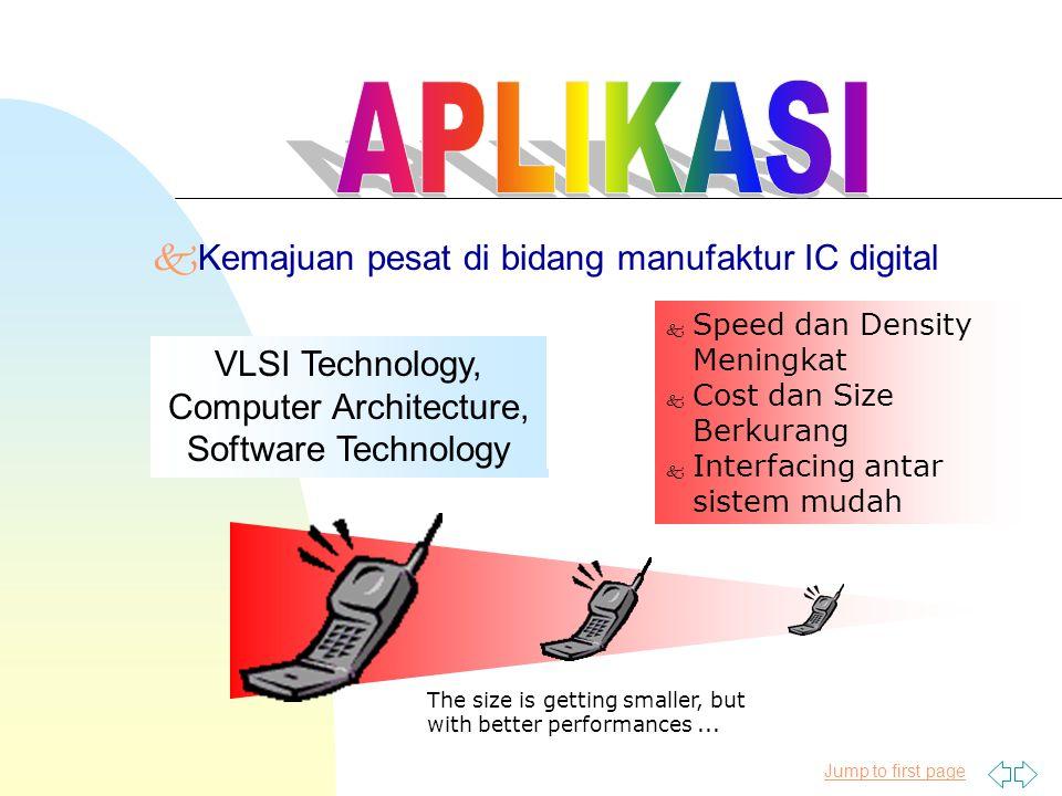 Jump to first page kKemajuan pesat di bidang manufaktur IC digital k Speed dan Density Meningkat k Cost dan Size Berkurang k Interfacing antar sistem