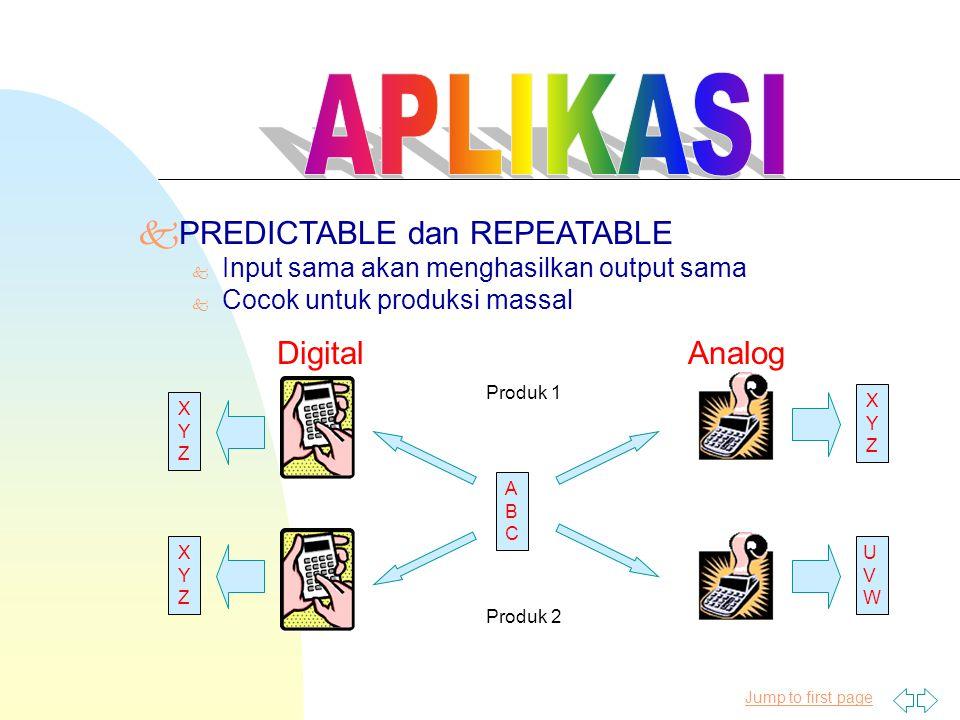 Jump to first page kPREDICTABLE dan REPEATABLE k Input sama akan menghasilkan output sama k Cocok untuk produksi massal ABCABC XYZXYZ XYZXYZ XYZXYZ UV