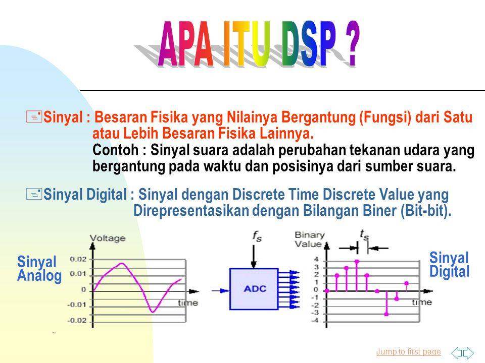 Jump to first page + Sinyal : Besaran Fisika yang Nilainya Bergantung (Fungsi) dari Satu atau Lebih Besaran Fisika Lainnya. Contoh : Sinyal suara adal