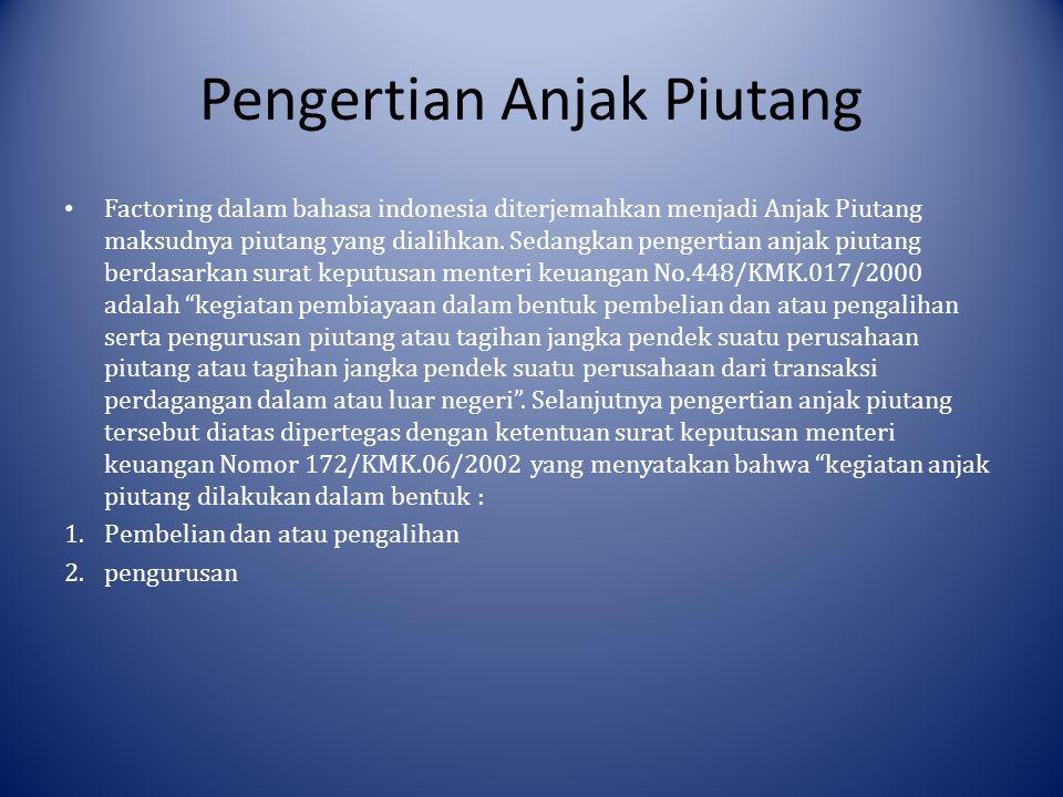 Pengertian Anjak Piutang Factoring dalam bahasa indonesia diterjemahkan menjadi Anjak Piutang maksudnya piutang yang dialihkan.