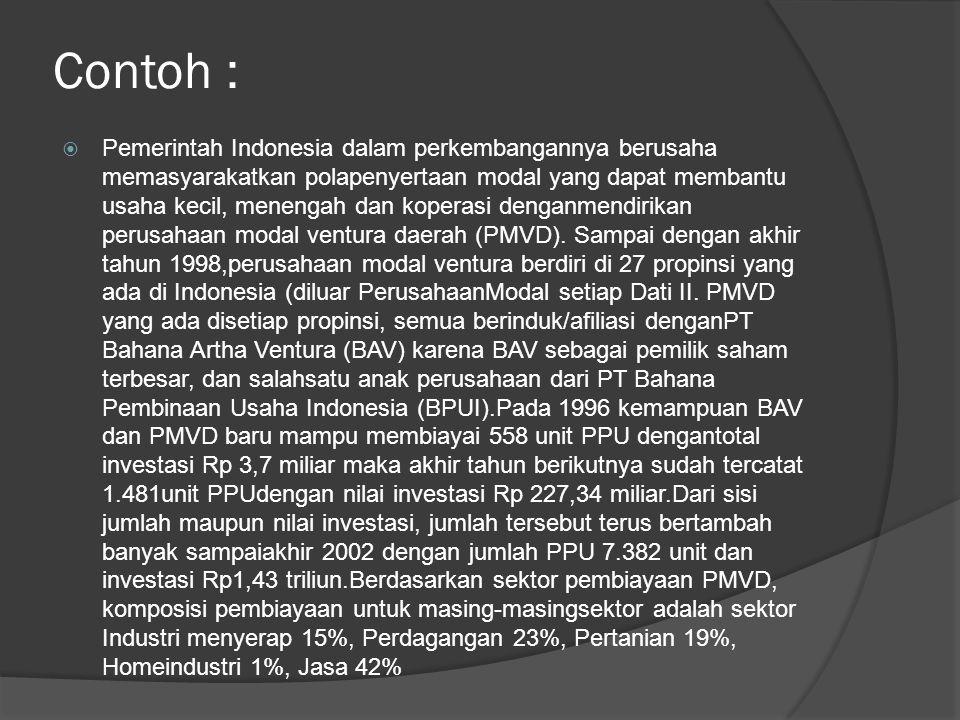 Contoh :  Pemerintah Indonesia dalam perkembangannya berusaha memasyarakatkan polapenyertaan modal yang dapat membantu usaha kecil, menengah dan kope