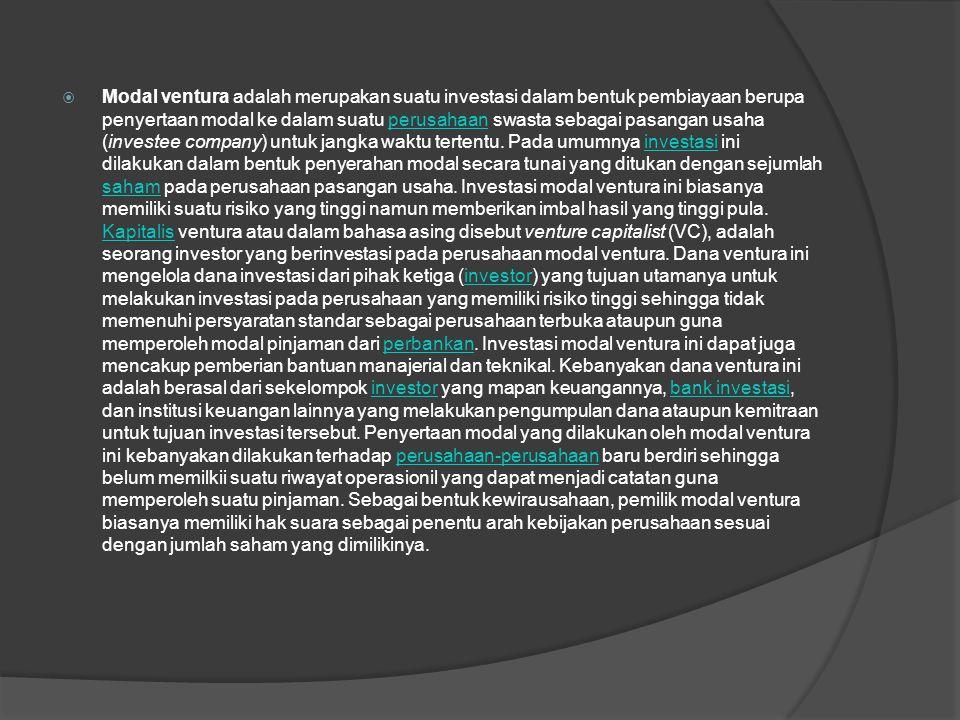 Contoh :  Pemerintah Indonesia dalam perkembangannya berusaha memasyarakatkan polapenyertaan modal yang dapat membantu usaha kecil, menengah dan koperasi denganmendirikan perusahaan modal ventura daerah (PMVD).