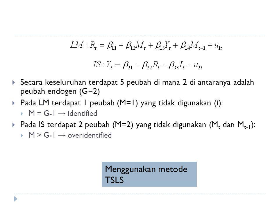  Secara keseluruhan terdapat 5 peubah di mana 2 di antaranya adalah peubah endogen (G=2)  Pada LM terdapat 1 peubah (M=1) yang tidak digunakan (I):