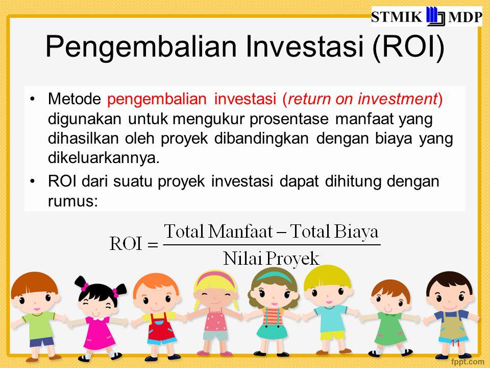 Pengembalian Investasi (ROI) Metode pengembalian investasi (return on investment) digunakan untuk mengukur prosentase manfaat yang dihasilkan oleh proyek dibandingkan dengan biaya yang dikeluarkannya.