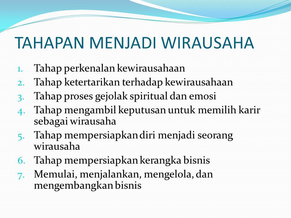 TAHAPAN MENJADI WIRAUSAHA 1. Tahap perkenalan kewirausahaan 2. Tahap ketertarikan terhadap kewirausahaan 3. Tahap proses gejolak spiritual dan emosi 4