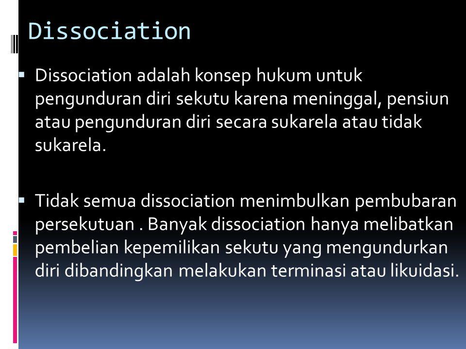 ADA EMPAT JENIS PEMBUBARAN PERSEKUTUAN 1.Dissociation/Pengunduran diri 2.Dissolution/Pembubaran 3.Termination/Terminasi 4.Liquidation/Likuidasi.