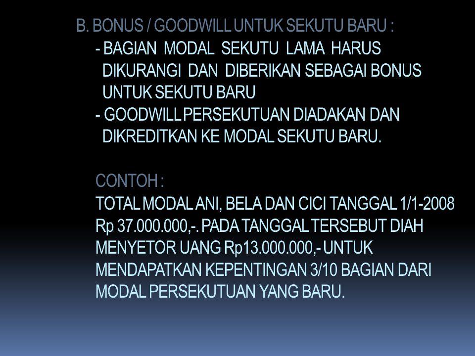 METODE GOODWILL : TOTAL MODAL SEKUTU LAMA DAN BARU = Rp 13.000.000 x 100/25 = Rp 52.000.000,- TOTAL MODAL SEKUTU LAMA DAN BARU YG DISETOR = Rp 50.000.
