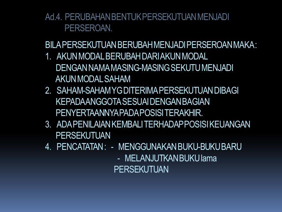 Ad. 3. KEMATIAN SEORANG / LEBIH SEKUTU : HAL-HAL YG PERLU DIPERHATIKAN : 1. LABA RUGI SAAT KEMATIAN HARUS DITENTUKAN 2. AKTIVA DAN HUTANG PERSEKUTUAN