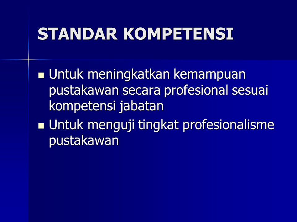 STANDAR KOMPETENSI Untuk meningkatkan kemampuan pustakawan secara profesional sesuai kompetensi jabatan Untuk meningkatkan kemampuan pustakawan secara