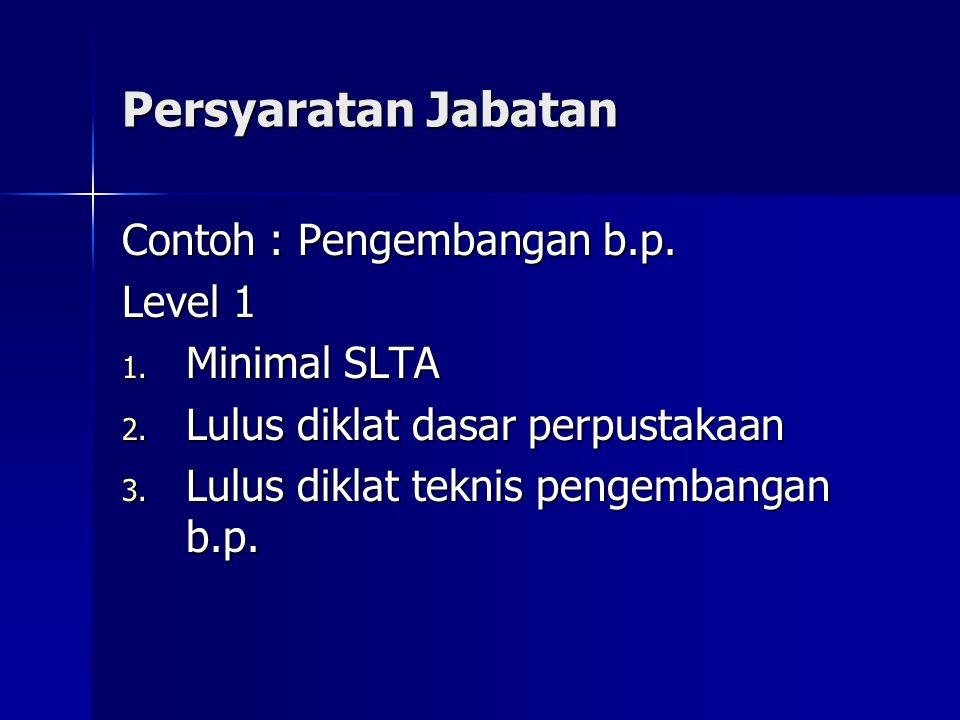 Persyaratan Jabatan Contoh : Pengembangan b.p. Level 1 1. Minimal SLTA 2. Lulus diklat dasar perpustakaan 3. Lulus diklat teknis pengembangan b.p.