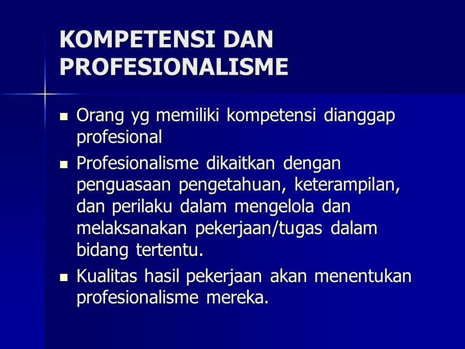 KOMPETENSI DAN PROFESIONALISME Orang yg memiliki kompetensi dianggap profesional Orang yg memiliki kompetensi dianggap profesional Profesionalisme dik