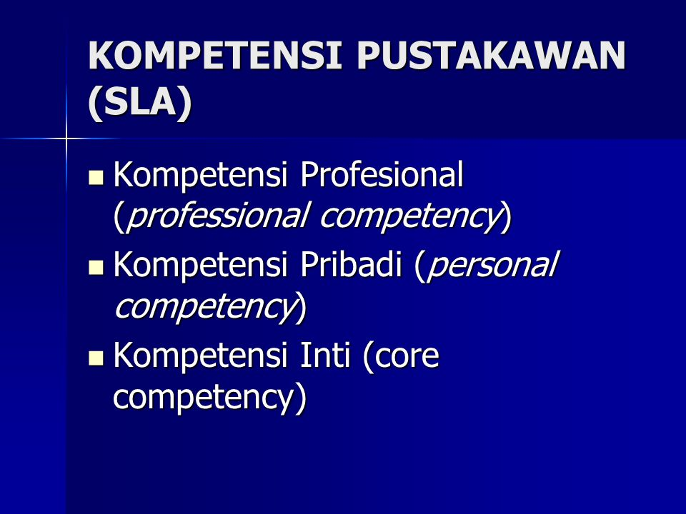 Bahasan Standar Kompetensi Pustakawan Jenis dan jenjang jabatan Jenis dan jenjang jabatan Jenjang jabatan dan lingkup kegiatan Jenjang jabatan dan lingkup kegiatan Jenjang jabatan dan kompetensi (kompetensi teknis, kompetensi dasar, kompetensi manajerial) Jenjang jabatan dan kompetensi (kompetensi teknis, kompetensi dasar, kompetensi manajerial) Persyaratan jabatan Persyaratan jabatan
