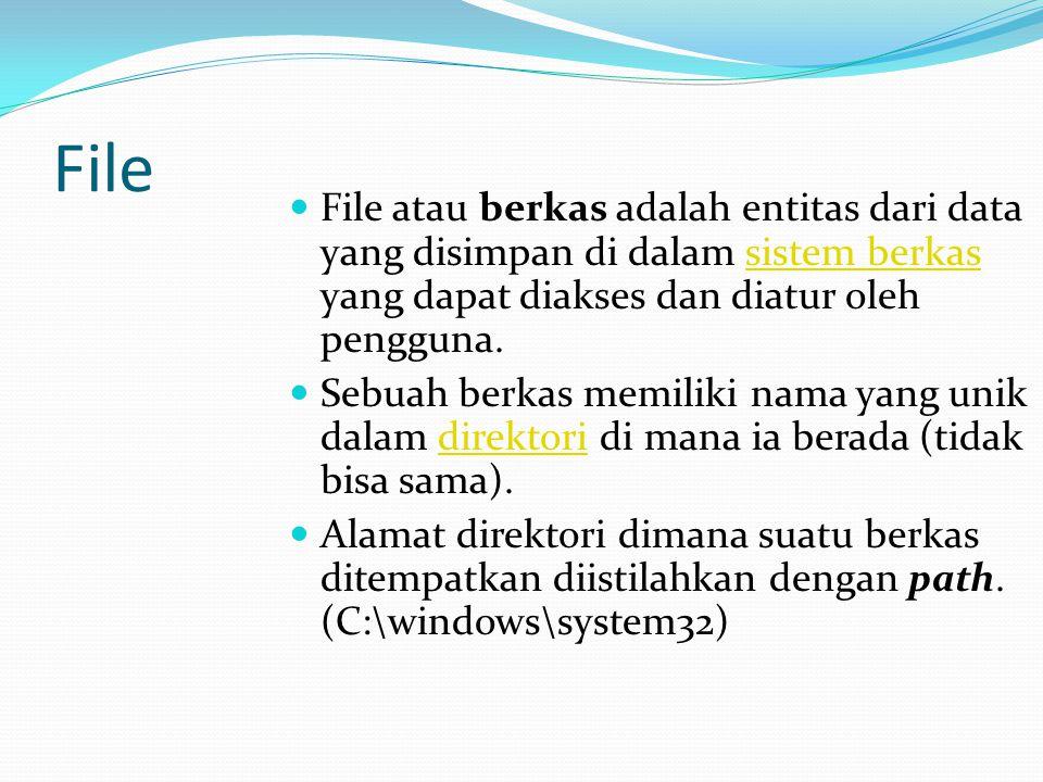 File File atau berkas adalah entitas dari data yang disimpan di dalam sistem berkas yang dapat diakses dan diatur oleh pengguna.sistem berkas Sebuah b